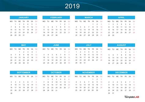 2019 Printable Calendars [monthly, With Holidays, Yearly