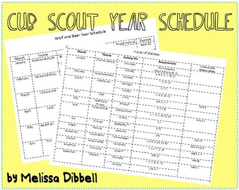 Scout Calendar Template Cub Scout Year Schedule Combined Schedule For Wolf And