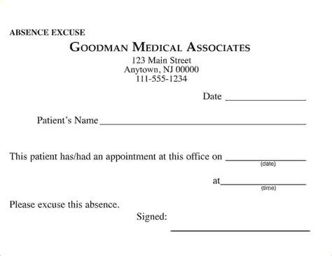 printable doctors note for work 8 free printable doctors excuse for workagenda template