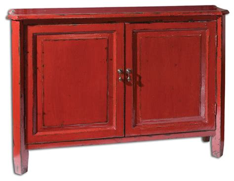 Uttermost Altair Red Console Cabinet-traditional