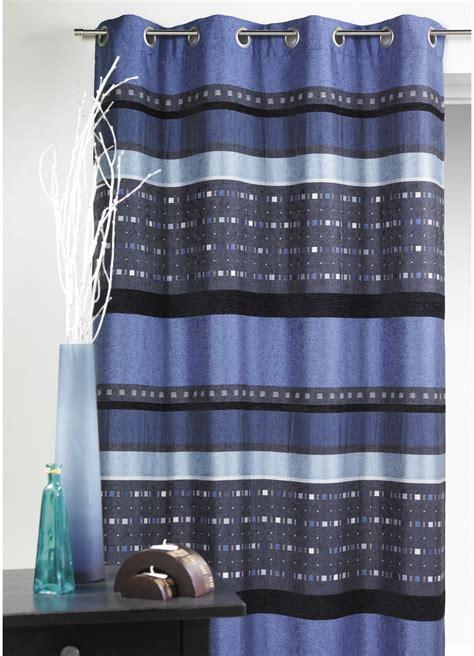 rideau en jacquard 224 rayures horizontales graphiques bleu
