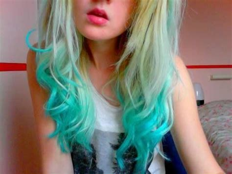 Blonde With Teal Tips Colored Hair Pinterest Posts