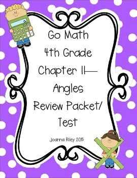 Go Math Chapter 11  Angles  4th Grade  Review With Answers By Joanna Riley