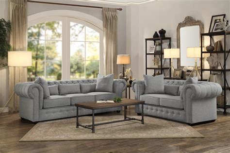 Pictures Of Living Room Sofa Sets by 8427gy Homelegance Savonburg Grey Sofa Set Collection