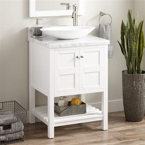 everett vessel sink console vanity white bathroom