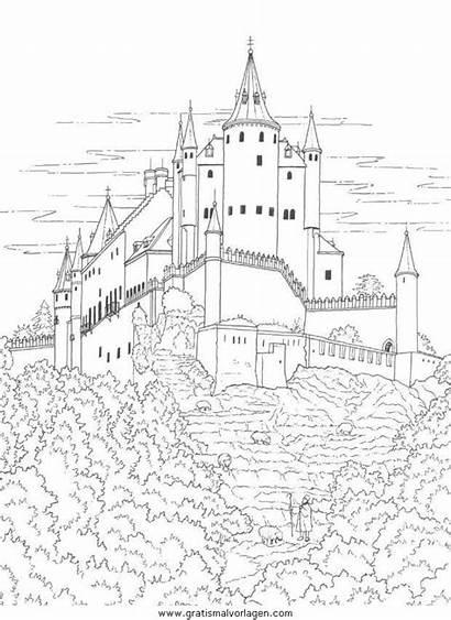 Coloring Chateau Fort Coloriage Dibujos Dessin Castle
