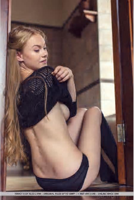 Erotic model Nancy A in socks & skirt undressing to show hard nipples & ass - PornPics.com