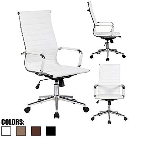 2xhome white eames modern high back ribbed pu