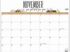 Cute Printable Calendar November 2018 lacalabaza