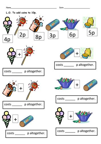 money worksheets totals and change by clara5 teaching resources