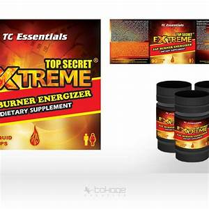 Top Secret Extreme Fat Burner Label Design
