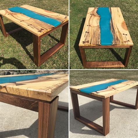 $400 free delivery in the gta Handmade Live Edge Spalted Hickory, Walnut, and Epoxy River Coffee Table. Ecopoxy blue river ...