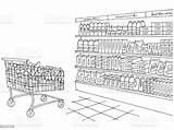 Grocery Sketch Vector Interior Coloring Graphic Bread Cartoon Russia sketch template