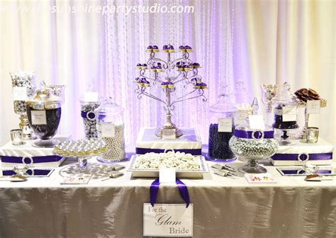Purple And Silver Wedding Candy Buffet Tables