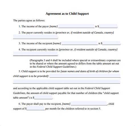 child support agreement template 10 sle child support agreement templates pdf sle templates