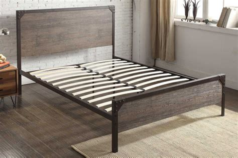 Panel Bed Frame by Marlow Rustic Metal Industrial Wood Panel Bed Frame