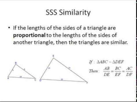 triangle similarity aa sss sas youtube