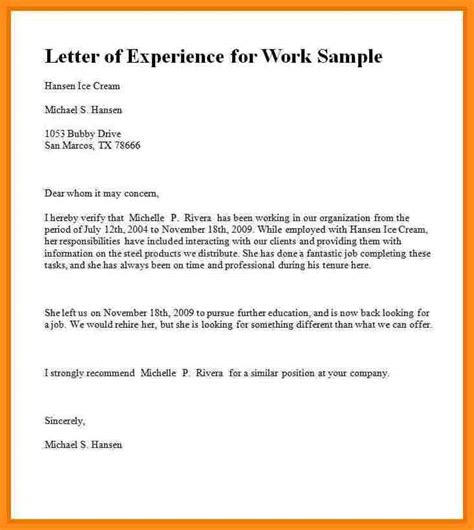 Work Experience Resume Format Pdf by 7 Experience Letter Format Pdf Parts Of Resume