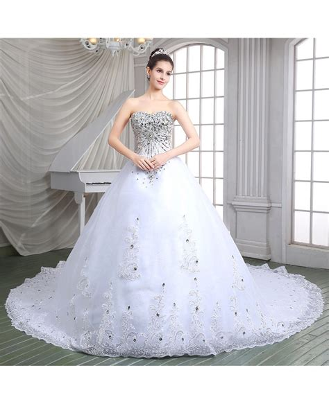 Ball Gown Sweetheart Cathedral Train Wedding Dress C86115
