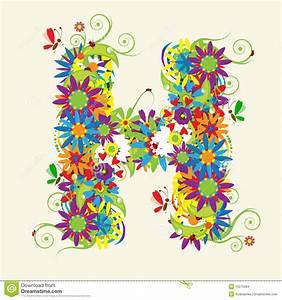 Letter H, floral design stock vector. Illustration of ...
