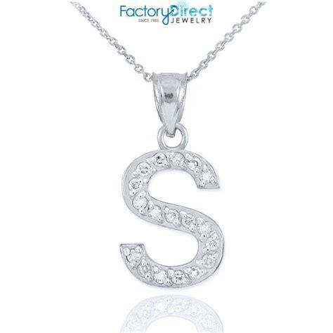 sterling silver letter  initial cz monogram pendant necklace ebay