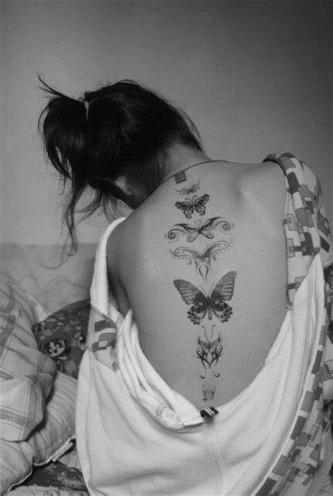 Butterflly Tattoo Along the Spine - Design of