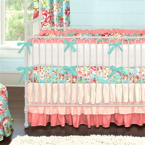 Teal And Coral Baby Bedding by Coral And Teal Ombre Nursery Contemporary Nursery