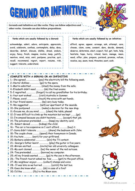 Gerund Or Infinitive Worksheet  Free Esl Printable Worksheets Made By Teachers