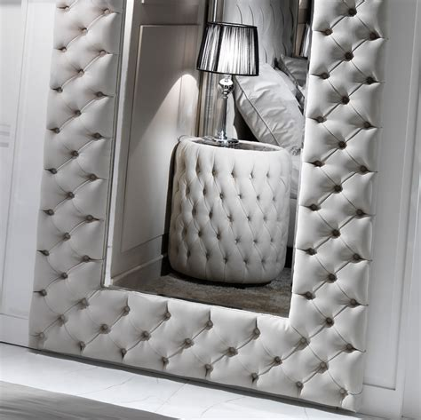 large modern button upholstered nubuck leather wall mirror