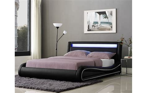 tete de lit design lit design noir ou blanc 140 cm avec t 234 te de lit 233 clair 233 e