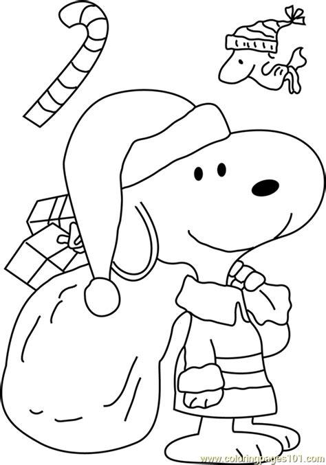 snoopy dressed  santa coloring page  christmas cartoons coloring pages