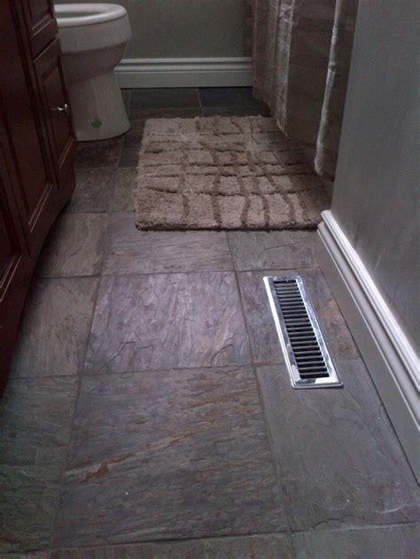 slate tile bathroom flooring  vanity  white