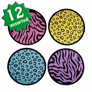 Neon Animal Print Fabric Flying Discs Assorted 12 [12