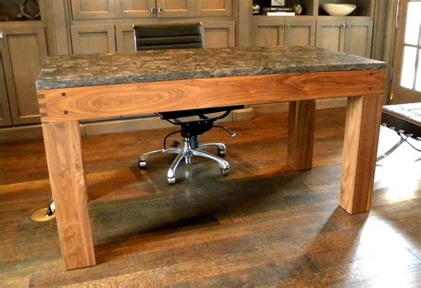 made walnut parsons style desk with granite top by
