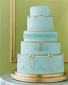 Sky Blue Gold Wedding Cake Once Wed