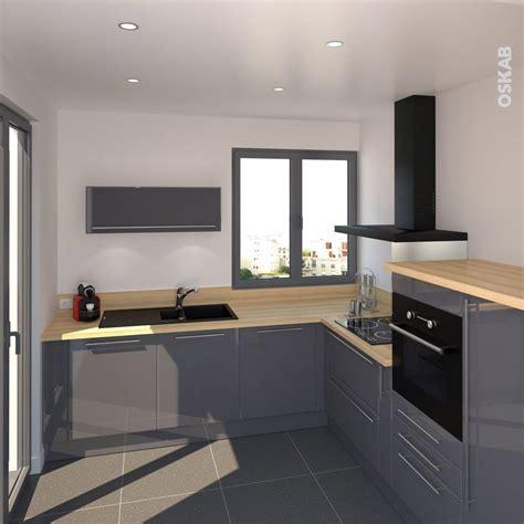 implantation cuisine en l cuisine bleue grise contemporaine avec plan de travail
