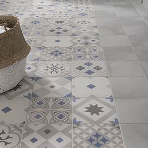 carrelage sol et mur gris effet ciment gatsby l20 x l20 With carrelage imitation carreau de ciment leroy merlin