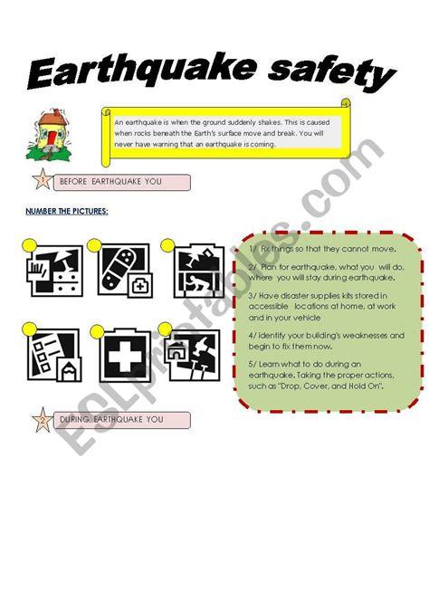 earthquake safety esl worksheet by