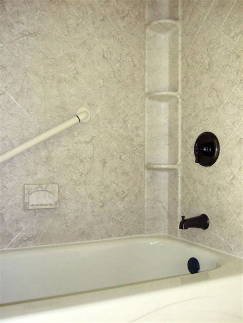 acrylic shower walls  breccia pattern  shower caddy