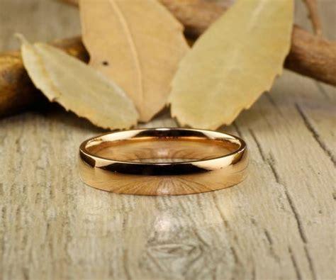 handmade rose gold dome plain matching wedding band couple rings