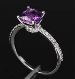 engagement rings with purple diamonds princess cut purple amethyst 14k white gold pave engagement ring engagement