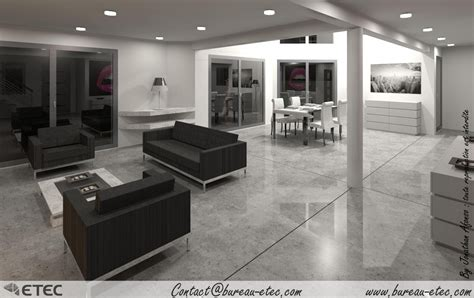 deco salon et cuisine ouverte maison contemporaine saulon etec