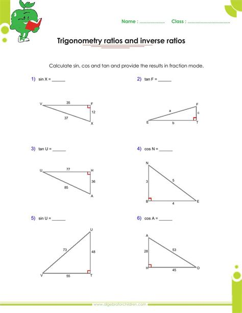 trigonometry worksheet answers free worksheets library