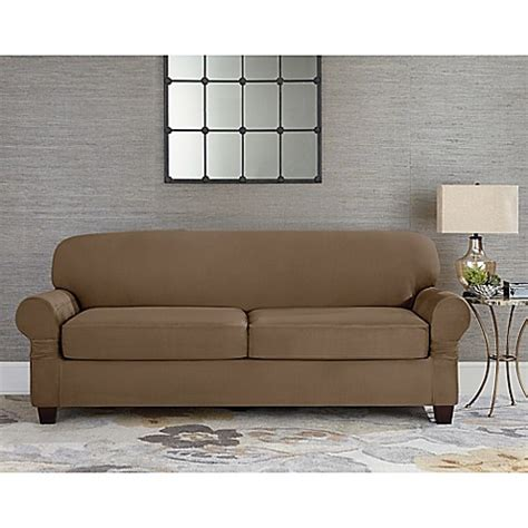two cushion sofa slipcover sure fit designer suede individual cushion 2 seat sofa