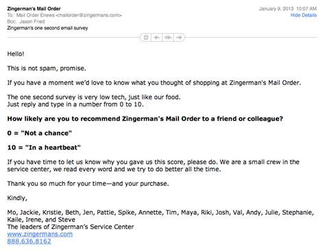 zingermans simple email survey signal  noise