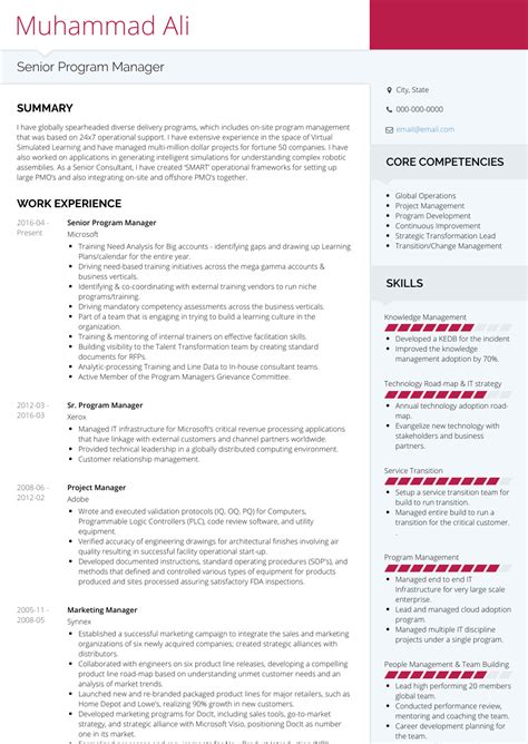 Resume For Program Manager by Senior Program Manager Resume Bijeefopijburg Nl