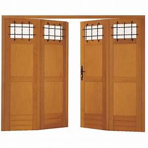Porte de garage landon pliante bois exotique avec grilles for Porte de garage coulissante et porte d interieur double vantaux