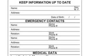 Printable Emergency Contact Card Template