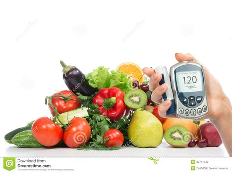 glucose cuisine diabetes concept glucose meter fruits and vegetables stock