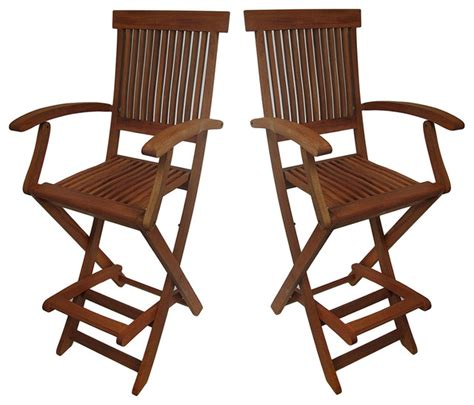 set of 2 wooden counter height folding chairs with arm and